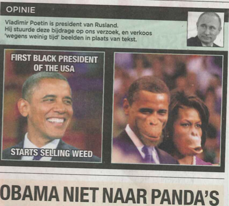 PHOTO: Belgian newspaper prints photos of The Obama's as apes