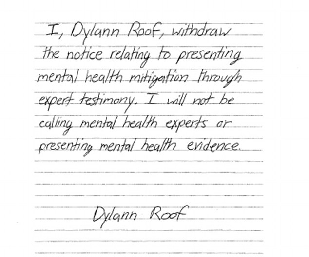 """Dylann Roof: Psychological illnesses are a """"Jewish Invention"""""""