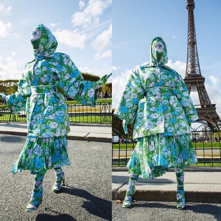 Cardi B wears head to toe Richard Quinn for Paris Fashion Week