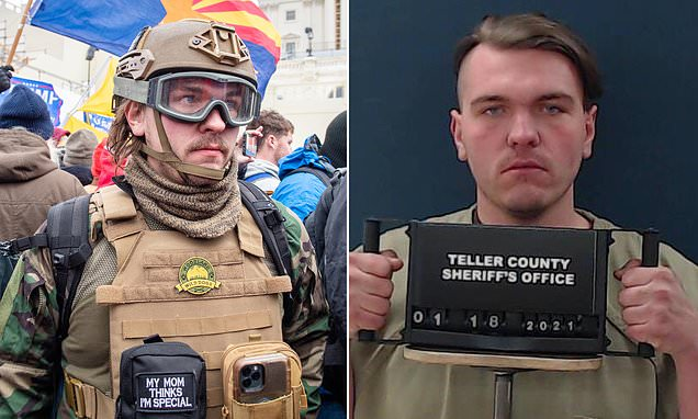 Robert Gieswein,24, has been arrested and has strong alt-right links following his insurrection in the Capitol.