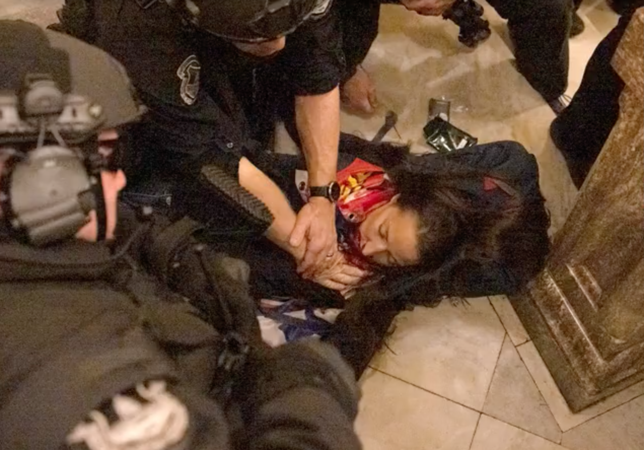 Confirmed: A woman was in fact shot inside the #Capitol during the illegal takeover by Trump 's terrorists